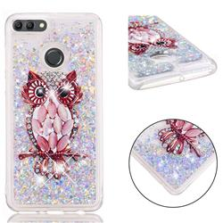 Seashell Owl Dynamic Liquid Glitter Quicksand Soft TPU Case for Huawei Y9 (2018)