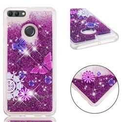 Purple Flower Butterfly Dynamic Liquid Glitter Quicksand Soft TPU Case for Huawei Y9 (2018)