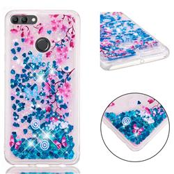 Blue Plum Blossom Dynamic Liquid Glitter Quicksand Soft TPU Case for Huawei Y9 (2018)