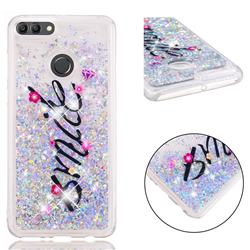 Smile Flower Dynamic Liquid Glitter Quicksand Soft TPU Case for Huawei Y9 (2018)