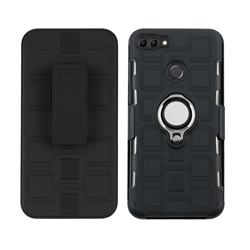3 in 1 PC + Silicone Leather Phone Case for Huawei Y9 (2018) - Black