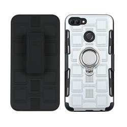3 in 1 PC + Silicone Leather Phone Case for Huawei Y9 (2018) - Silver