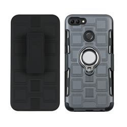 3 in 1 PC + Silicone Leather Phone Case for Huawei Y9 (2018) - Gray