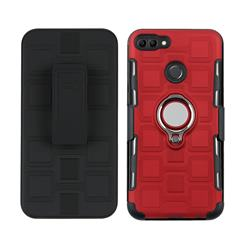 3 in 1 PC + Silicone Leather Phone Case for Huawei Y9 (2018) - Red
