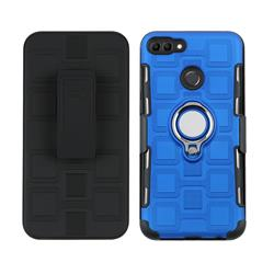 3 in 1 PC + Silicone Leather Phone Case for Huawei Y9 (2018) - Dark Blue