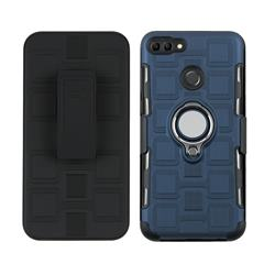 3 in 1 PC + Silicone Leather Phone Case for Huawei Y9 (2018) - Royal Blue