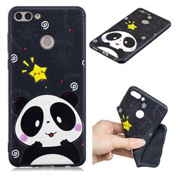 Cute Bear 3D Embossed Relief Black TPU Cell Phone Back Cover for Huawei Y9 (2018)