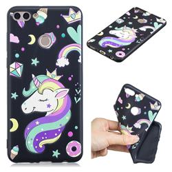 Candy Unicorn 3D Embossed Relief Black TPU Cell Phone Back Cover for Huawei Y9 (2018)