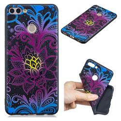 Colorful Lace 3D Embossed Relief Black TPU Cell Phone Back Cover for Huawei Y9 (2018)