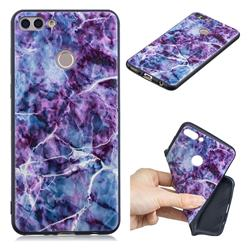 Marble 3D Embossed Relief Black TPU Cell Phone Back Cover for Huawei Y9 (2018)
