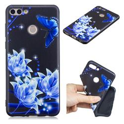 Blue Butterfly 3D Embossed Relief Black TPU Cell Phone Back Cover for Huawei Y9 (2018)