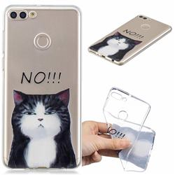 Cat Say No Clear Varnish Soft Phone Back Cover for Huawei Y9 (2018)