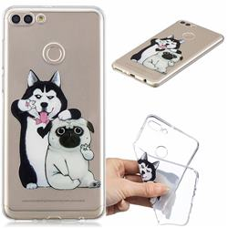 Selfie Dog Clear Varnish Soft Phone Back Cover for Huawei Y9 (2018)
