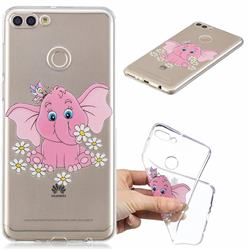Tiny Pink Elephant Clear Varnish Soft Phone Back Cover for Huawei Y9 (2018)