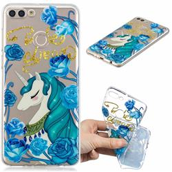 Blue Flower Unicorn Clear Varnish Soft Phone Back Cover for Huawei Y9 (2018)