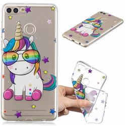 Glasses Unicorn Clear Varnish Soft Phone Back Cover for Huawei Y9 (2018)