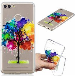 Oil Painting Tree Clear Varnish Soft Phone Back Cover for Huawei Y9 (2018)