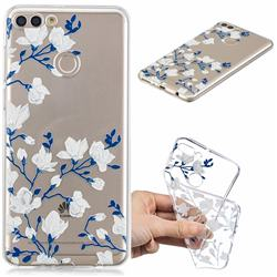 Magnolia Flower Clear Varnish Soft Phone Back Cover for Huawei Y9 (2018)