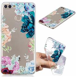 Gem Flower Clear Varnish Soft Phone Back Cover for Huawei Y9 (2018)