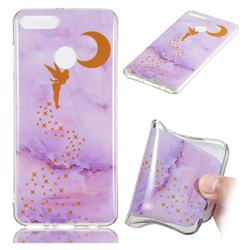 Elf Purple Soft TPU Marble Pattern Phone Case for Huawei Y9 (2018)