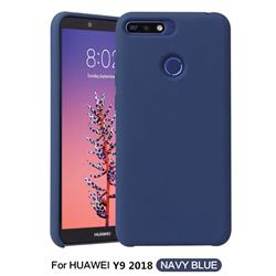 Howmak Slim Liquid Silicone Rubber Shockproof Phone Case Cover for Huawei Y9 (2018) - Midnight Blue