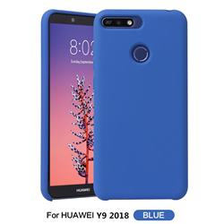Howmak Slim Liquid Silicone Rubber Shockproof Phone Case Cover for Huawei Y9 (2018) - Sky Blue
