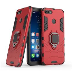Black Panther Armor Metal Ring Grip Shockproof Dual Layer Rugged Hard Cover for Huawei Y9 (2018) - Red