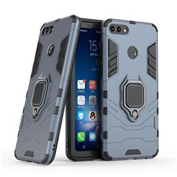 Black Panther Armor Metal Ring Grip Shockproof Dual Layer Rugged Hard Cover for Huawei Y9 (2018) - Blue