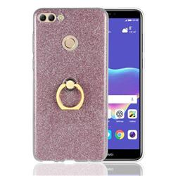 Luxury Soft TPU Glitter Back Ring Cover with 360 Rotate Finger Holder Buckle for Huawei Y9 (2018) - Pink
