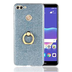 Luxury Soft TPU Glitter Back Ring Cover with 360 Rotate Finger Holder Buckle for Huawei Y9 (2018) - Blue