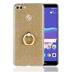 Luxury Soft TPU Glitter Back Ring Cover with 360 Rotate Finger Holder Buckle for Huawei Y9 (2018) - Golden