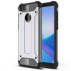 King Kong Armor Premium Shockproof Dual Layer Rugged Hard Cover for Huawei Y9 (2018) - Silver Grey
