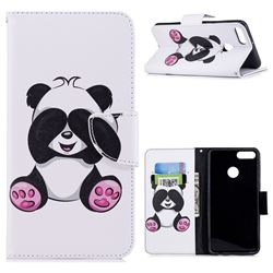 Lovely Panda Leather Wallet Case for Huawei Y9 (2018)