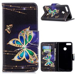 Golden Shining Butterfly Leather Wallet Case for Huawei Y9 (2018)