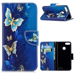 Golden Butterflies Leather Wallet Case for Huawei Y9 (2018)