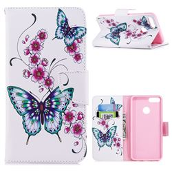 Peach Butterfly Leather Wallet Case for Huawei Y9 (2018)