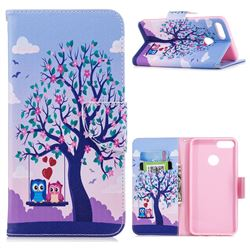 Tree and Owls Leather Wallet Case for Huawei Y9 (2018)