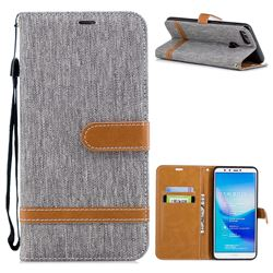 Jeans Cowboy Denim Leather Wallet Case for Huawei Y9 (2018) - Gray