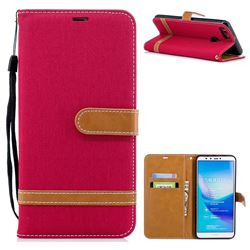 Jeans Cowboy Denim Leather Wallet Case for Huawei Y9 (2018) - Red