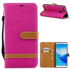 Jeans Cowboy Denim Leather Wallet Case for Huawei Y9 (2018) - Rose