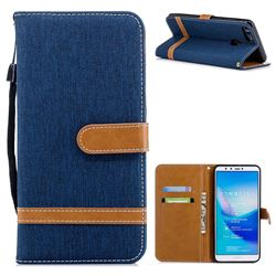 Jeans Cowboy Denim Leather Wallet Case for Huawei Y9 (2018) - Dark Blue
