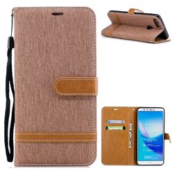Jeans Cowboy Denim Leather Wallet Case for Huawei Y9 (2018) - Brown