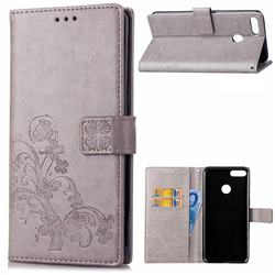 Embossing Imprint Four-Leaf Clover Leather Wallet Case for Huawei Y9 (2018) - Grey