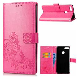 Embossing Imprint Four-Leaf Clover Leather Wallet Case for Huawei Y9 (2018) - Rose