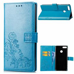 Embossing Imprint Four-Leaf Clover Leather Wallet Case for Huawei Y9 (2018) - Blue