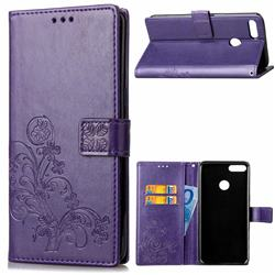 Embossing Imprint Four-Leaf Clover Leather Wallet Case for Huawei Y9 (2018) - Purple