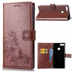 Embossing Imprint Four-Leaf Clover Leather Wallet Case for Huawei Y9 (2018) - Brown