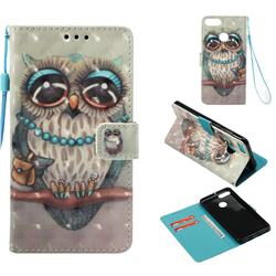 Sweet Gray Owl 3D Painted Leather Wallet Case for Huawei Y9 (2018)
