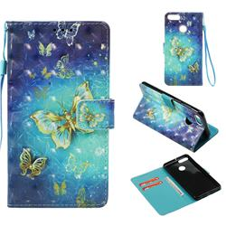 Gold Butterfly 3D Painted Leather Wallet Case for Huawei Y9 (2018)