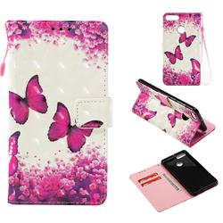 Rose Butterfly 3D Painted Leather Wallet Case for Huawei Y9 (2018)